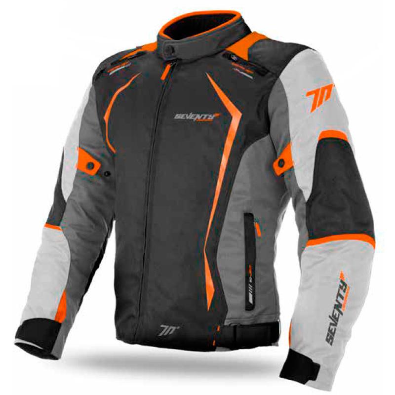 Chaqueta Moto Racing Hombre Negra Gris Naranja Invierno