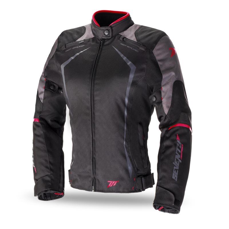 nueva alta calidad nuevo estilo de Amazonas Chaqueta Moto Mujer Racing Negro-Roja de Invierno