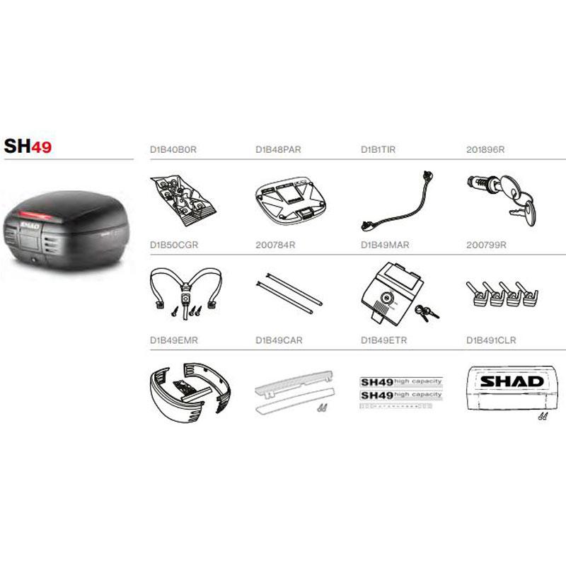 SHAD recambios y despiece maleta top case SH49 | Nilmoto