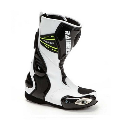 Botas para moto Rainers Racing en color negro y blanco junior