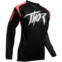 Camiseta Mujer Motocross Thor Sector Link Negro-Rosa